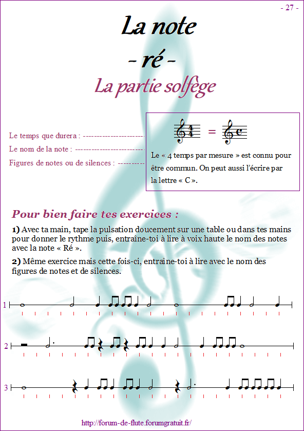 Module 2 : Do aigu, Ré aigu, Fa grave - Page 25 à 32 Methode-flute-a-bec_page-27-note_re